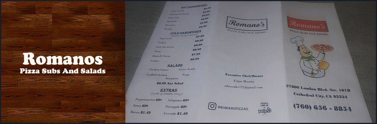 Romanos Pizza Subs And Salads is a Pizza Restaurant in Cathedral City, CA