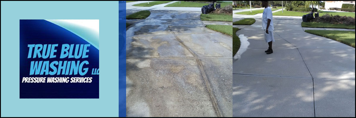 True Blue Washing LLC Provides Driveway Cleaning in Lutz