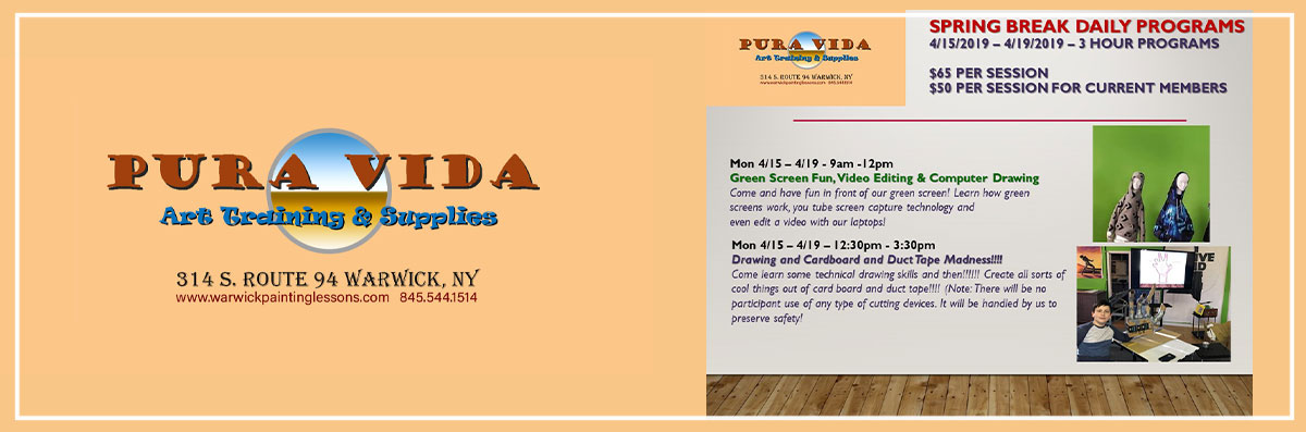 Pura Vida Art Training & Supplies Has April Spring Break Programs in Warwick, NY