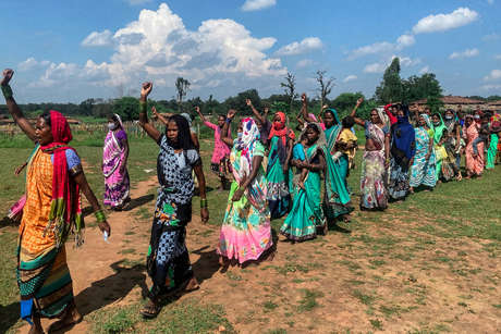 Adivasi (indigenous) people of Hasdeo Forest protest against coal mining plans that would destroy their forest. Fateppur Village, Chhattisgarh