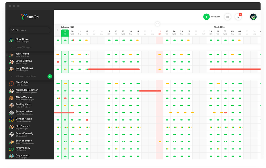 Easy availability scheduling for team members