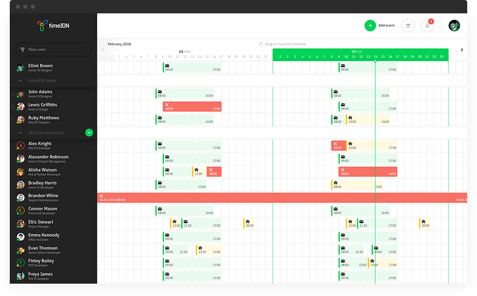 Clear visibility of colleagues' time schedules