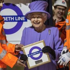 Queen Elizabeth II at the launch of the Elizabeth Line