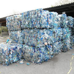 Bales of recycled plastic bottles