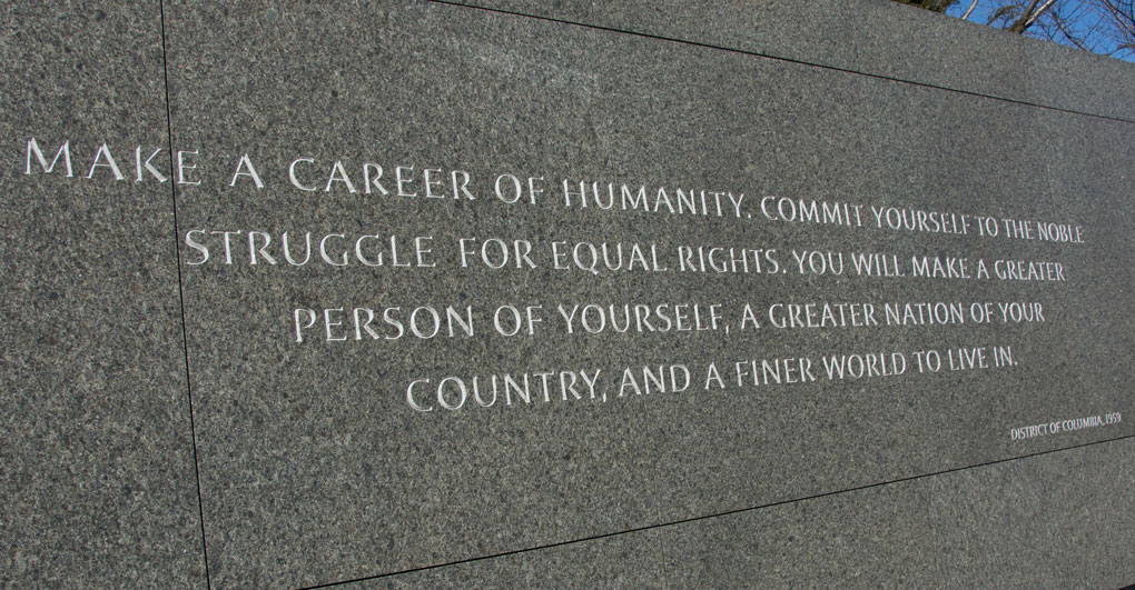 Quote on MLK memorial wall