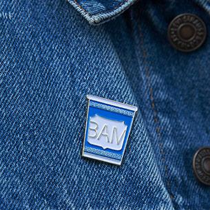 BAM Greek Coffee Cup Enamel Pin, $5