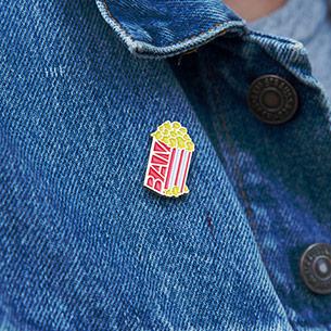 BAM Popcorn Enamel Pin, $5