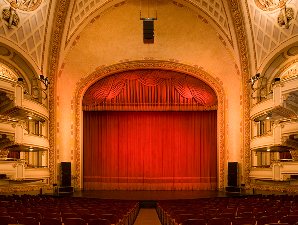 BAM Howard Gilman Opera House stage, curtain closed