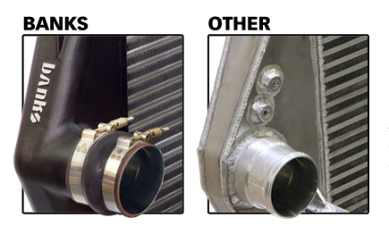 Banks Intercooler Systems CFD designed, rugged cast-aluminum end tanks ensure durability and slick air flow.