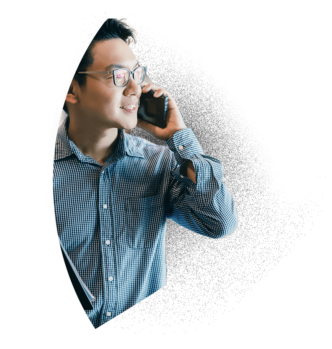 Entrepreneur on a phone call with a BarterPay client.