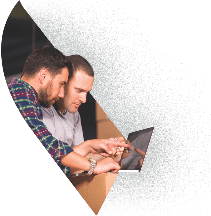 Two business professionals bartering online with BarterPay