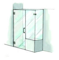 Door, Panel & Return on Buttress Shower Door- 950