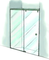 Fixed Panel Rolling Shower Door-935