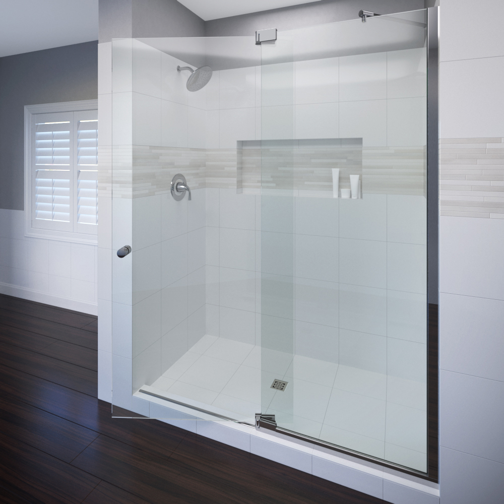 Cantour Frameless 3/8-inch Glass Swing Door &… | Basco Shower Doors