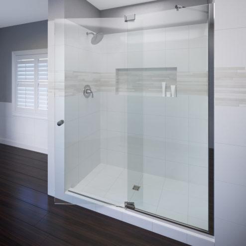 Cantour Frameless 3/8-inch Glass Swing Door & 1/2-inch Panel Shower Door