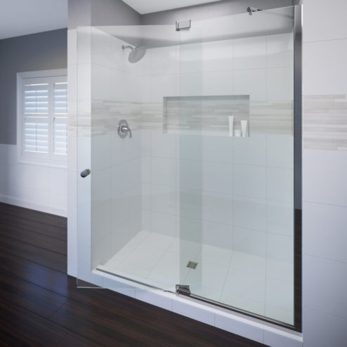 Cantour Frameless 3/8-inch Glass Swing Door & 1/2-inch Panel Shower Door