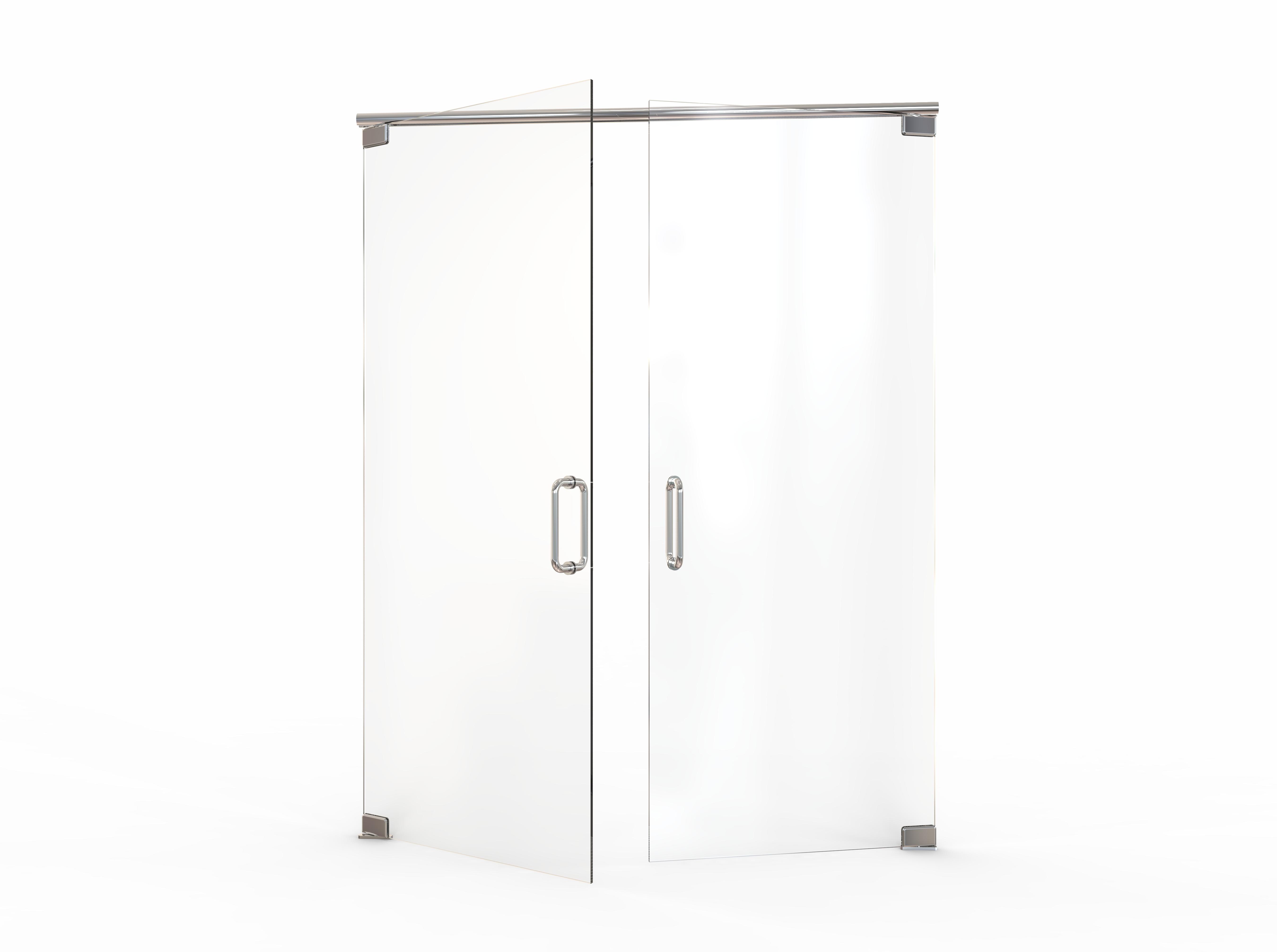 Celesta Frameless 38 Inch Glass French Swing Basco Shower Doors