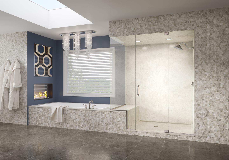"""Celesta Frameless 3/8"""" Glass Swing Door, Inline Panel & Return Panel - CELN 950"""