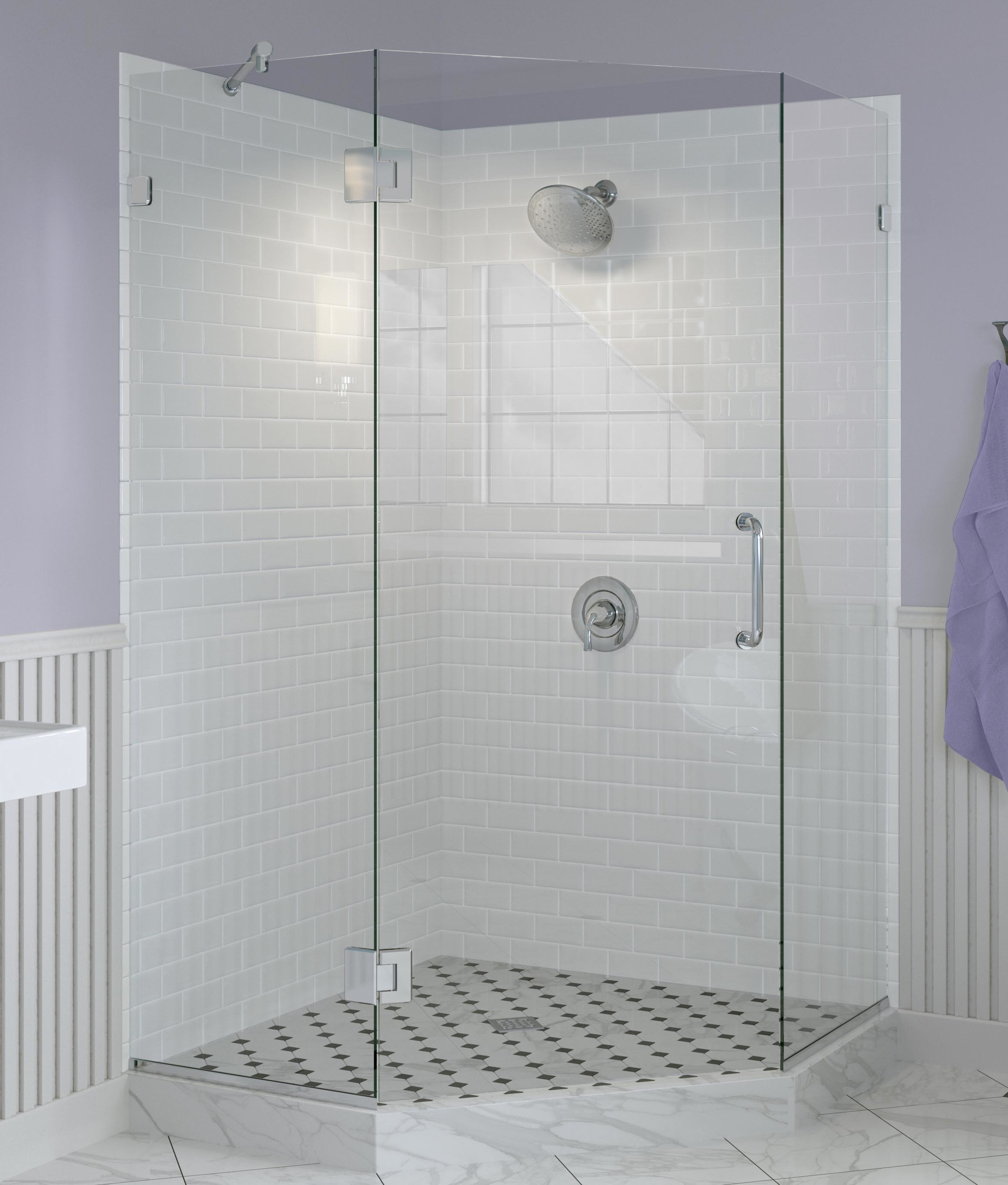 Celesta Frameless 3/8-inch Glass Neo Angle Swing… | Basco Shower Doors