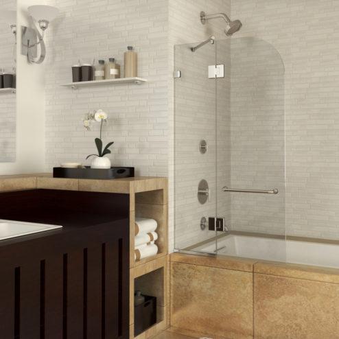 Celesta Frameless 3/8-inch Glass Shower Screen & Swing Panel