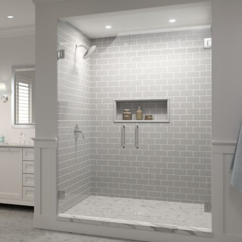 Celesta Frameless 3/8-inch Glass French Swing Shower Door