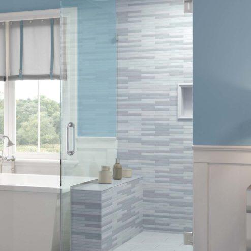 Celesta Frameless 3/8-inch Glass Swing Door & Return Panel Shower Door