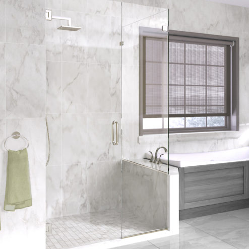 Celesta Frameless 3/8-inch Glass Swing Door, Inline Panel & Return Panel Shower Door