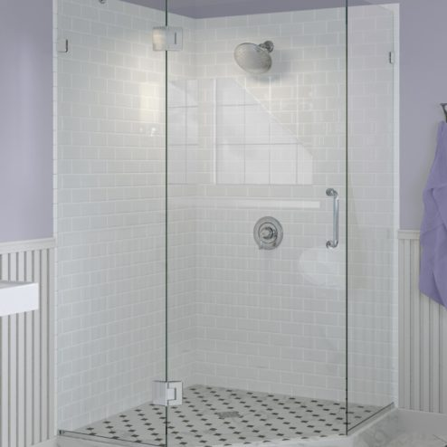 Celesta Frameless 3/8-inch Glass Neo Angle Swing Shower Door