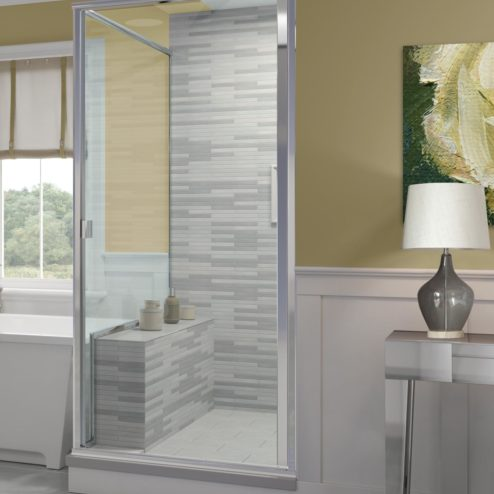 Classic Semi-Frameless 3/16-inch Glass Swing Door & Return Panel Shower Door