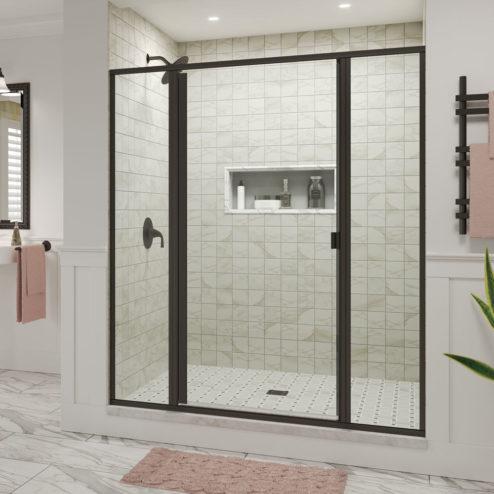 Classic Semi-Frameless 3/16-inch Glass Panel Swing Door Panel Shower Door