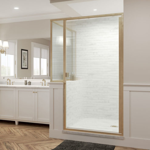 Classic Semi-Frameless 3/16-inch Glass Panel, Swing Door, & Return Panel Shower Door