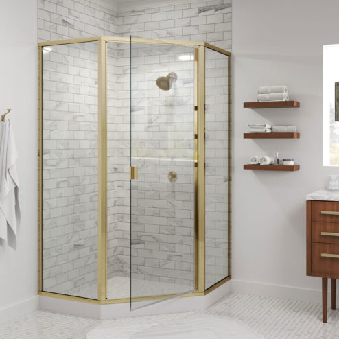 Classic Semi-Frameless 3/16-inch Glass Neo Angle Swing Shower Door