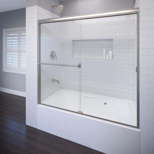 Classic Semi-Frameless 3/16-inch Glass Sliding Bath Tub Door