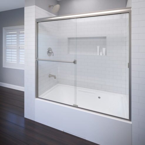 CUSTOMIZATION AVAILABLE Classic Semi Frameless 3/16 Inch Glass Sliding Bath  Tub Door