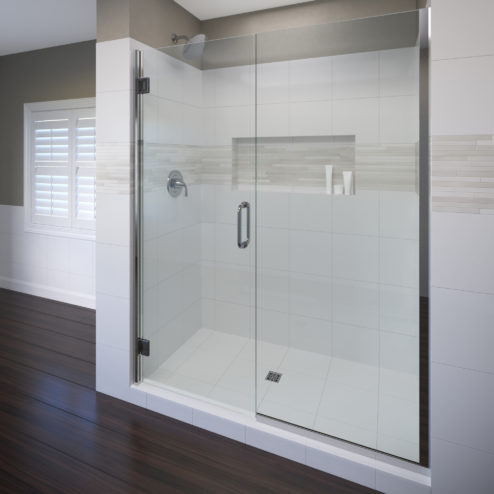 Coppia Frameless 3/8-inch Glass Swing Door & Panel Shower Door