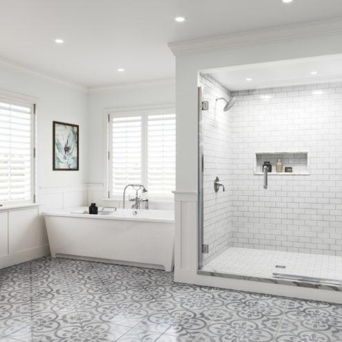 Coppia Frameless 3/8-inch Glass Swing Door & Panel Shower Door