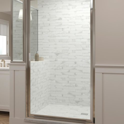 Deluxe Framed 3/16-inch Glass Swing Door and Inline Panel with Return Shower Door