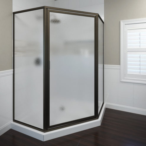 Deluxe Framed 3/16-inch Glass Neo Angle Swing Shower Door