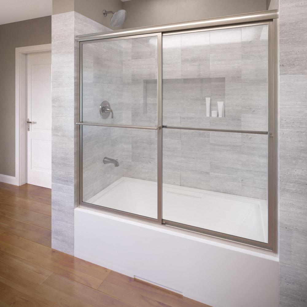 Deluxe Framed 3/16 inch Glass Sliding Bath Tub Door | Basco Shower