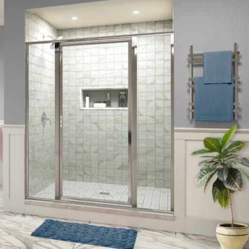 Deluxe Framed 3/16-inch Glass Panel Swing Door Panel Shower Door