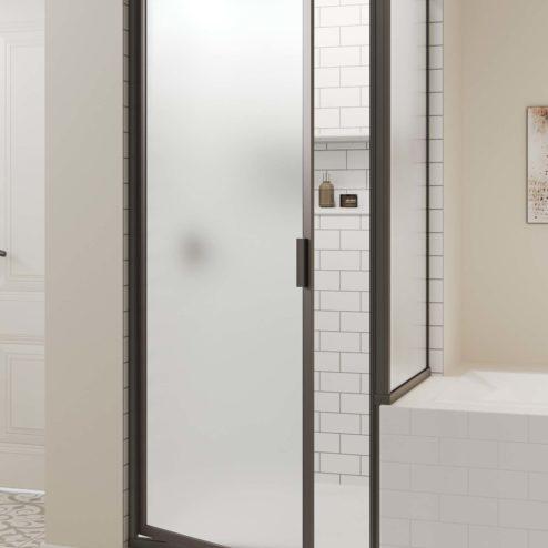 Deluxe Framed 3/16-inch Glass Swing Door & Return Panel Shower Door