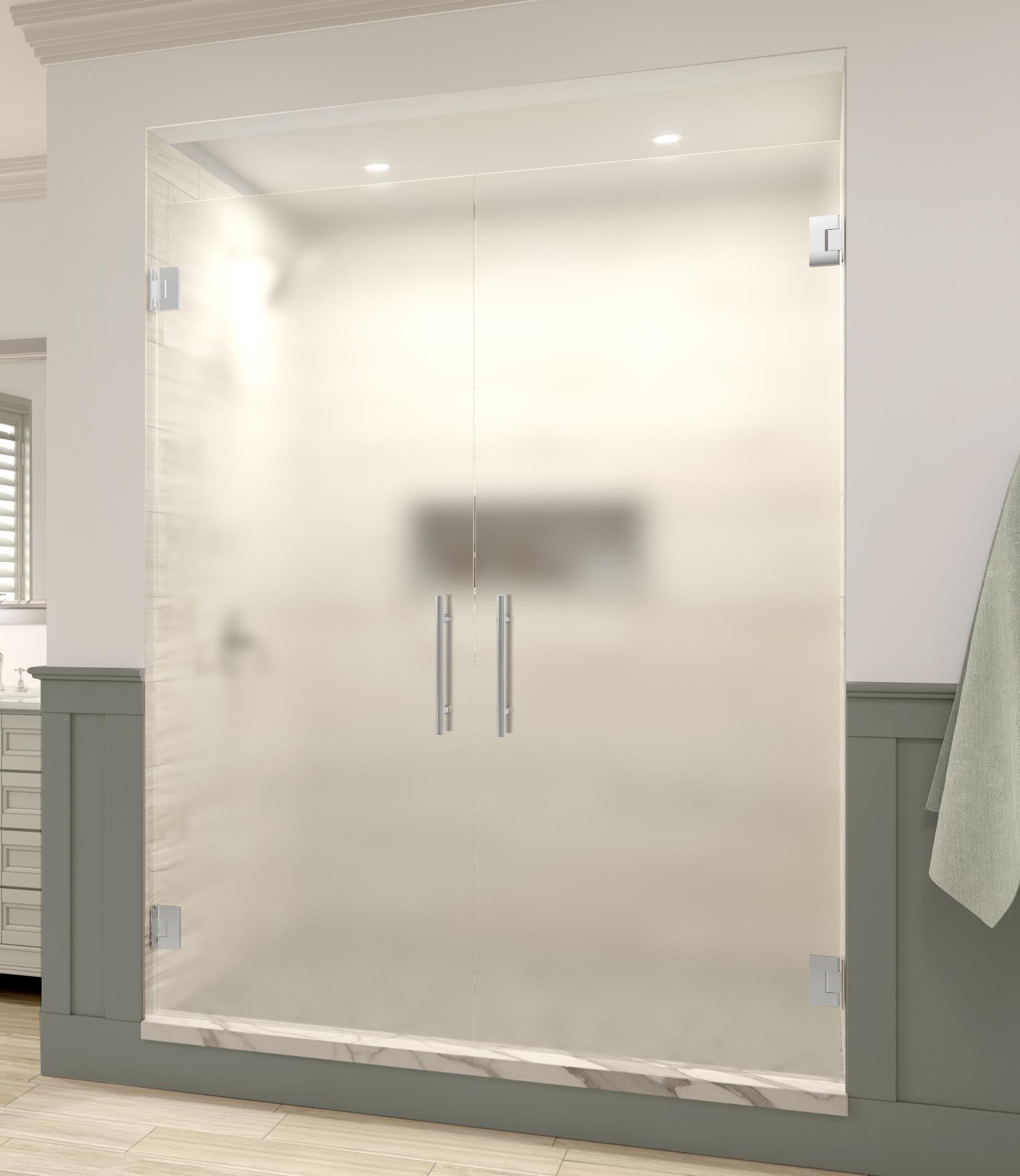 Dresden Frameless 38 Inch Glass French Swing Basco Shower Doors