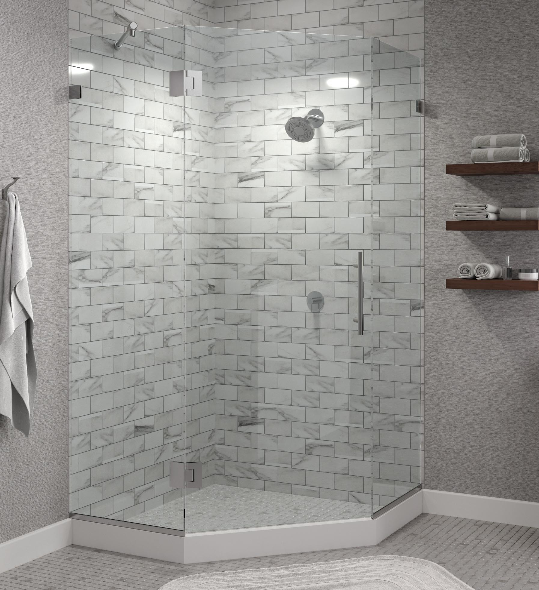 Dresden Frameless 3/8-inch Glass Neo Angle Swing… | Basco Shower Doors