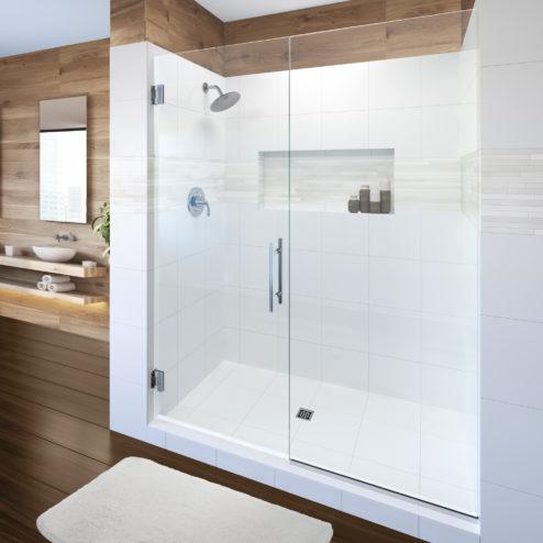 Dresden Frameless 3/8-inch Glass Swing Door & Panel Shower Door