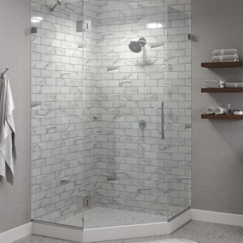Dresden Frameless 3/8-inch Glass Neo Angle Swing Shower Door