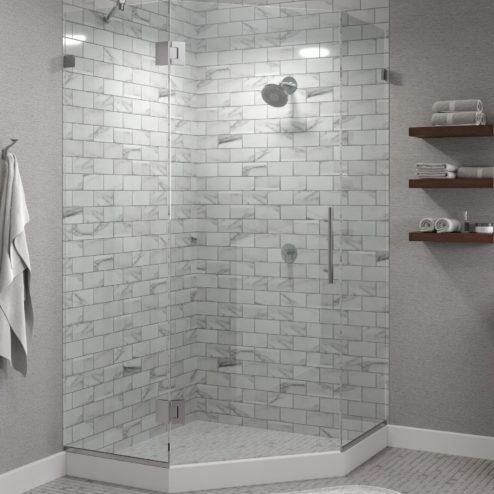 Dresden Frameless 3/8-inch Glass Neo Angle Swing Shower Door
