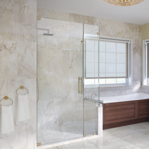 Dresden Frameless 3/8-inch Glass Swing Door, Inline Panel, & Return Panel Shower Door