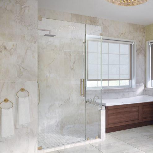 Dresden Frameless 3/8-inch Glass Swing Door, Inline Panel, & Return Panel Shower Door