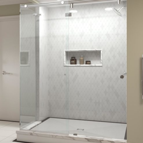 Evo Frameless 3/8-inch Glass Rolling Door, Panel & Return Panel Shower Door