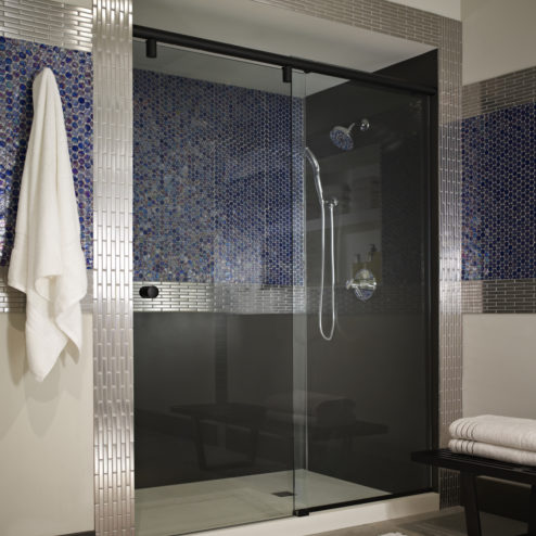 Evo Frameless 3/8-inch Glass Rolling Door & Panel Shower Door